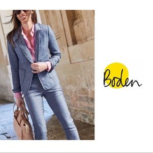 NEW Boden Blue Ruffle Chambray Lined Blazer